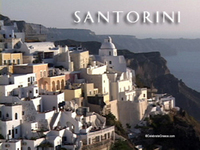 Stock Footage of Santorini Greek Island Greece Atlantis Thera Thira Oia Volcano Minoan Eruption Caldera Resorts Hotels View