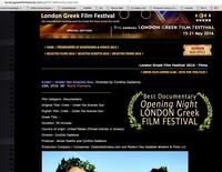 Winner Best Documentary London Greek Film Festival Opening Night for Crete Under the Grecian Sun