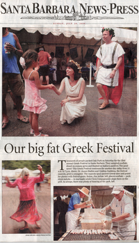 The Goddess and the Greek® appearance at the annual Santa Barbara Greek Festival - Santa Barbara News Press