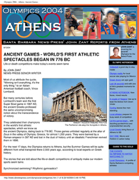 CelebrateGreece.com discusses the Athens Olympics and the Ancient Olympics - Santa Barbara News Press