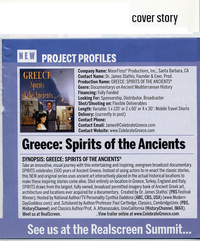 Introduction of CelebrateGreece.com's production of Greece: Spirits of the Ancients in Realscreen Magazine