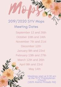 SYV MOPS Meeting Dates