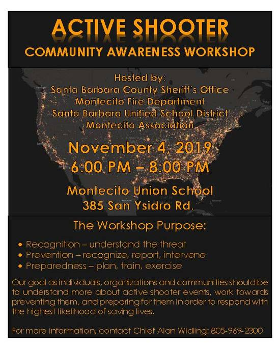 Active Shooter Community Workshop, November 4, 2019