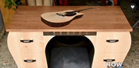 One-of-a-kind guitar desk built in Santa Barbara wood shop