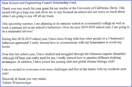 Scholarship Letter, 2019c