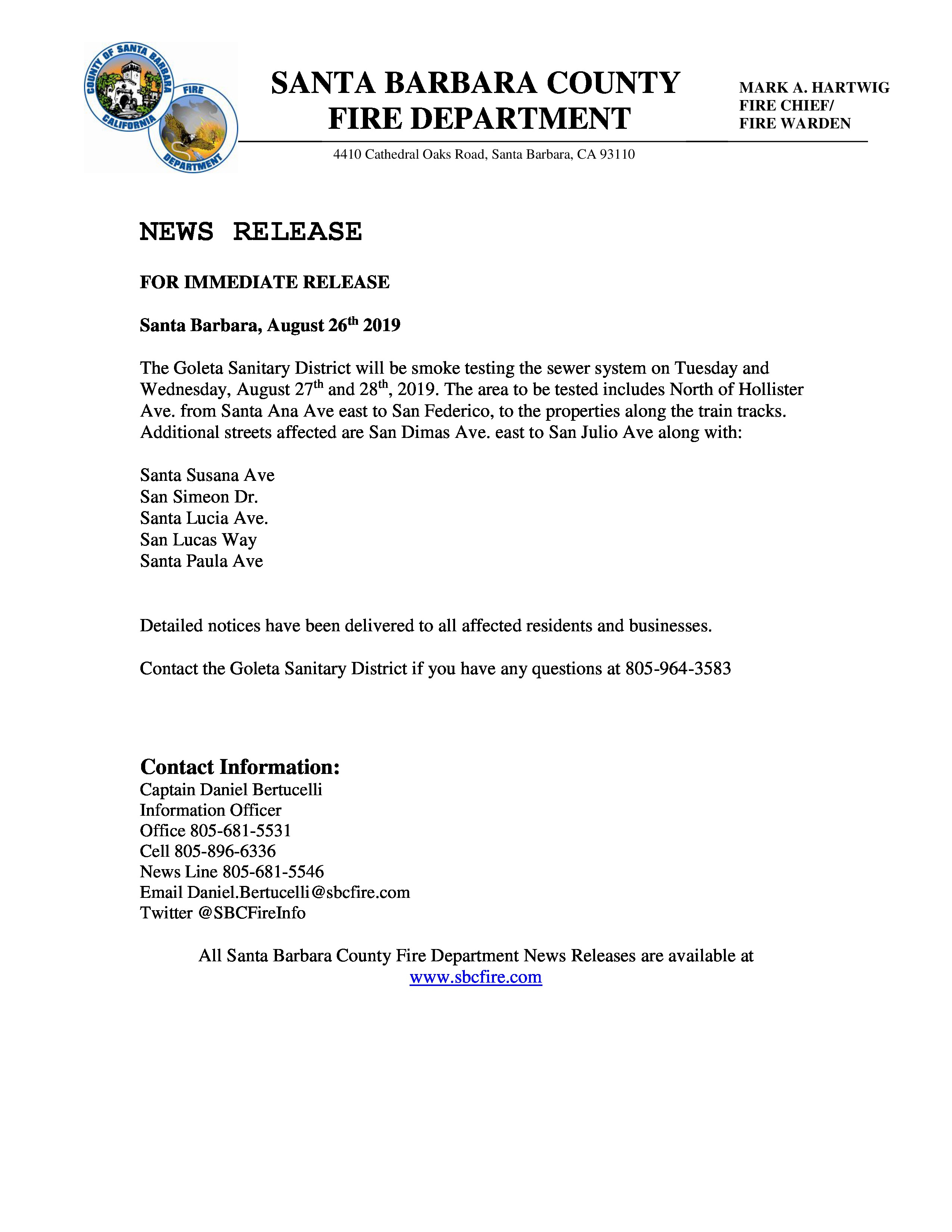 Sewer Smoke Test News Release