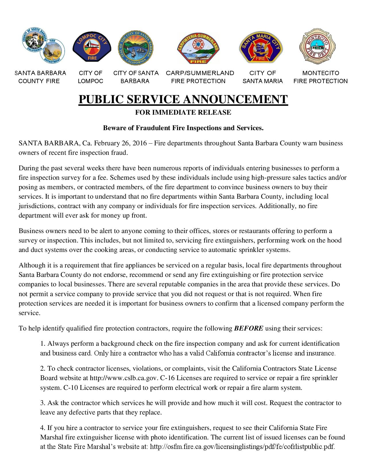 Beware of Fraudulent Fire Inspections and Services-pg1