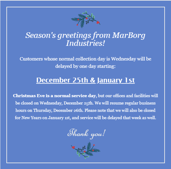 MarBorg Industries Observes Christmas & New Year's - Buellton