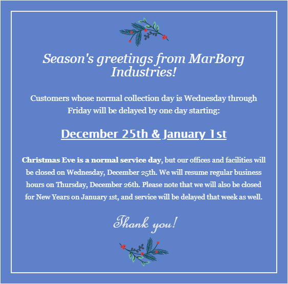 MarBorg Industries Observes Christmas & New Year's - Non Buellton