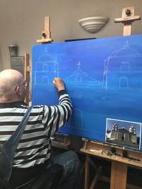 Artist Kyle Allan beginning a large painting of the Santa Barbara Mission