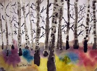 watercolor painting of a forest of black and white trees with rainbow of colors on the ground