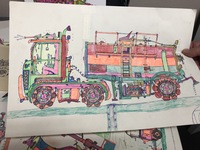 a multi colored drawing of a truck by artist Kyle Allan