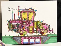 a multi colored drawing of a tractor by artist Kyle Allan