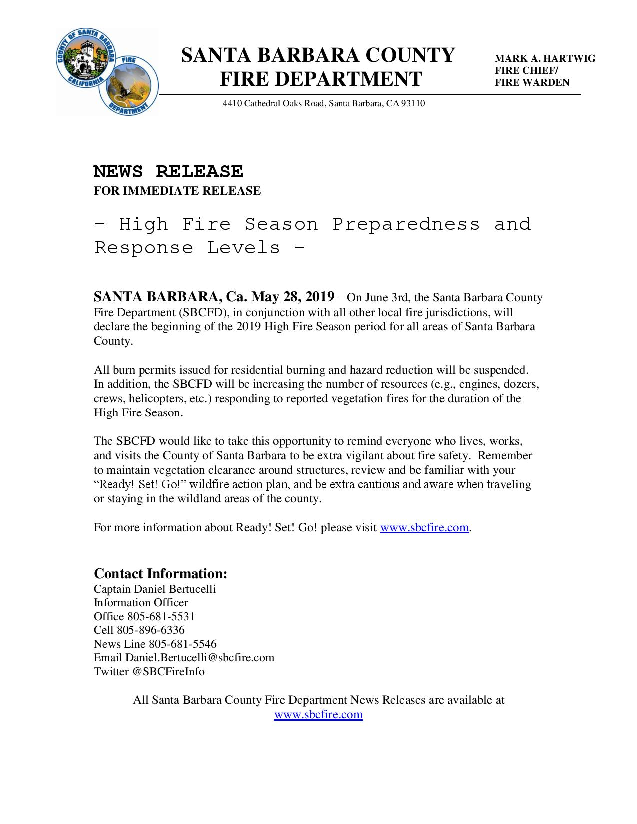 High Fire Season Preparedness and Response Levels