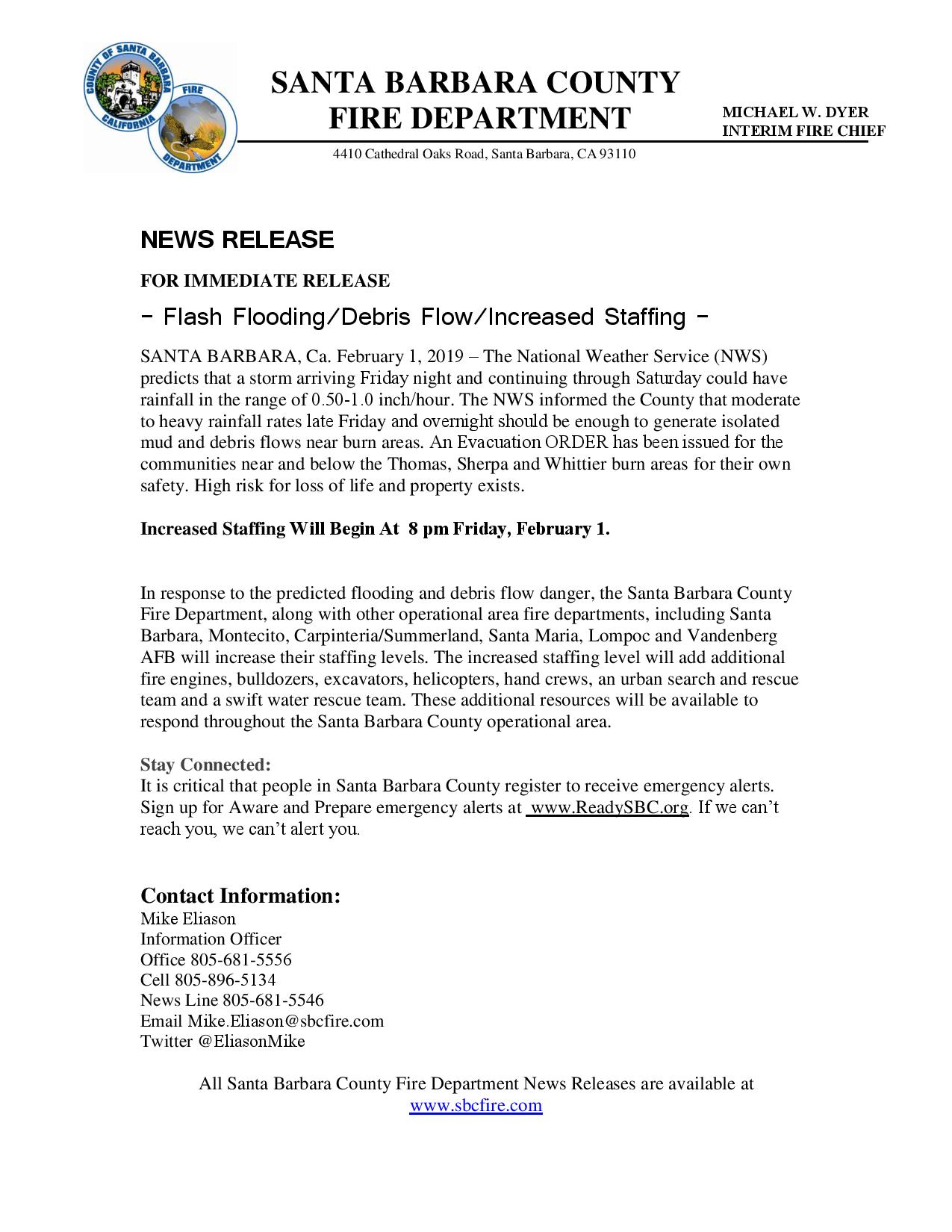 Flash Flooding/Debris Flow/Increased Staffing