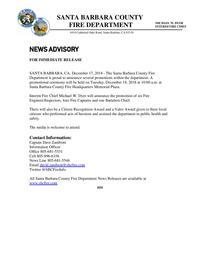 Promotion Ceremony News Advisory