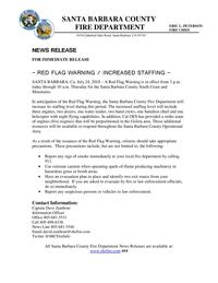 RED FLAG WARNING / INCREASED STAFFING