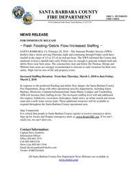 Flash Flooding/Debris Flow/Increased Staffing