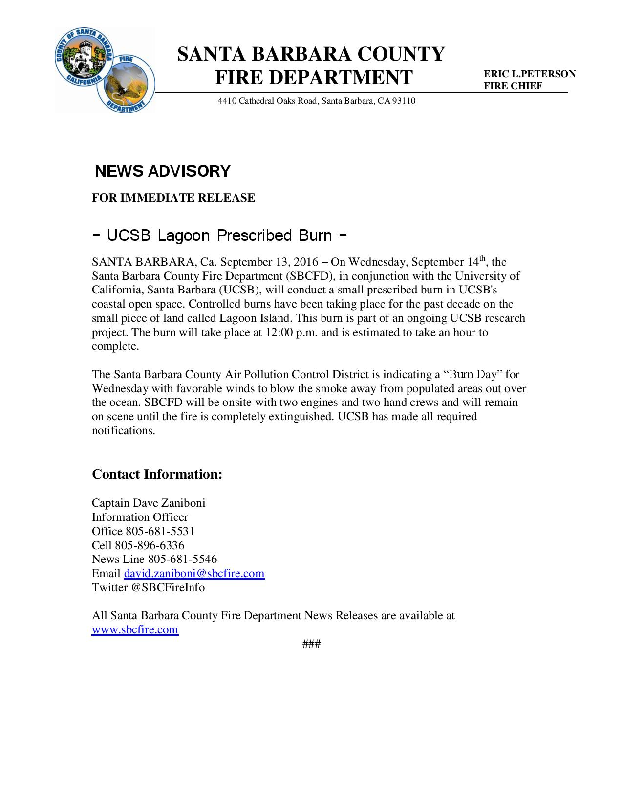 UCSB Lagoon Prescribed Burn