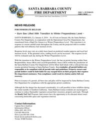 Burn Ban Lifted With Transition to Winter Preparedness Level