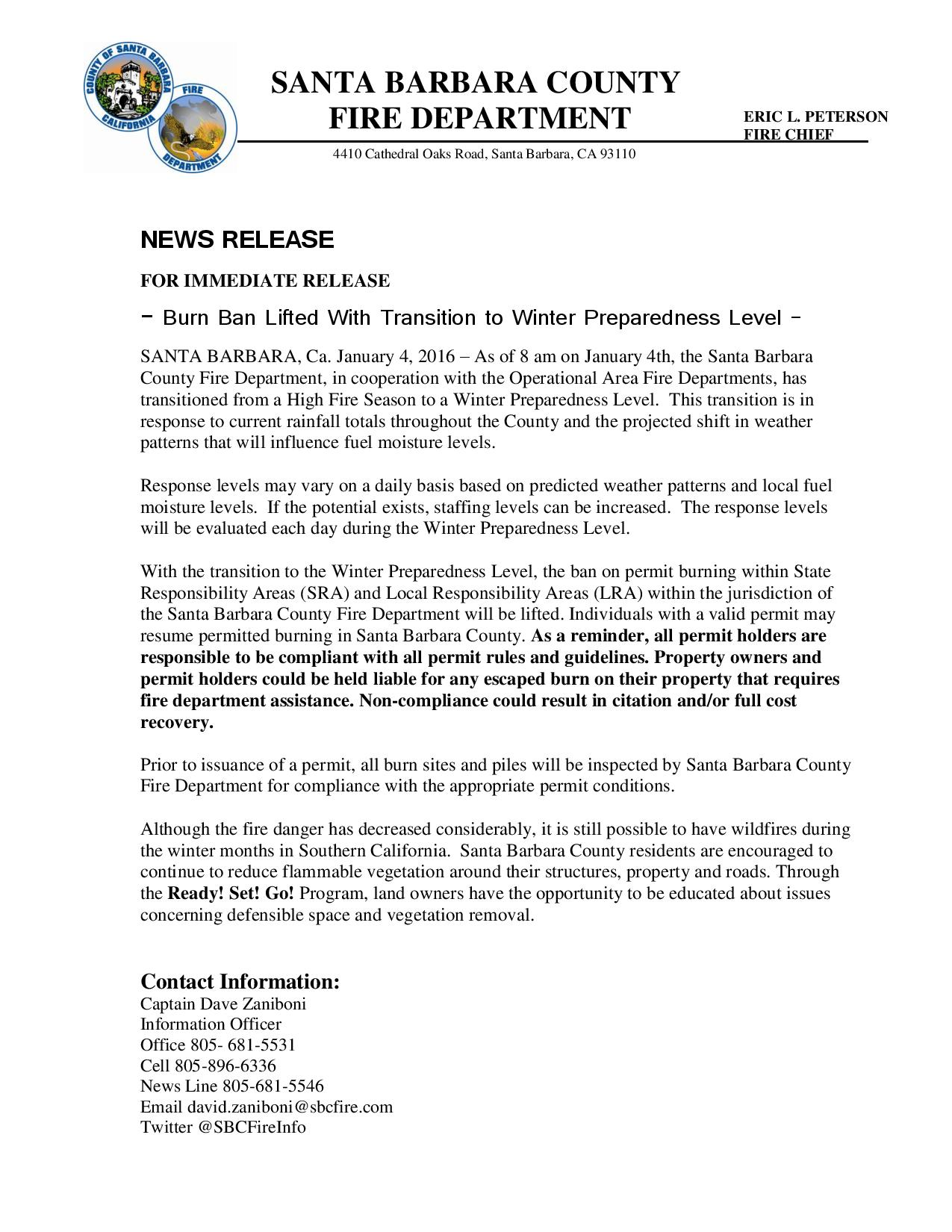 Burn Ban Lifted With Transition to Winter Preparedness Level-pg1