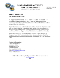 Appointment of New Fire Chief