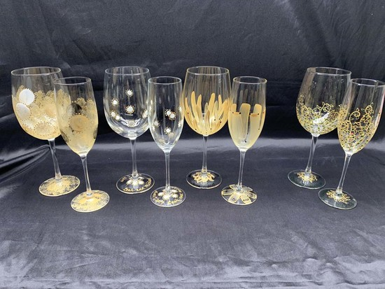 Basic Full Service Package Hand Painted Wine Glasses