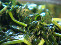 Spinach steamed with Lemon Zest