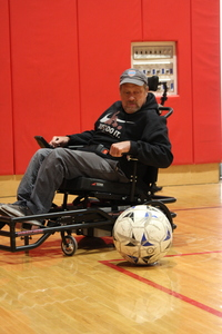 Individual with Cerebral Palsy BrianMacLaren Power Soccer Coach