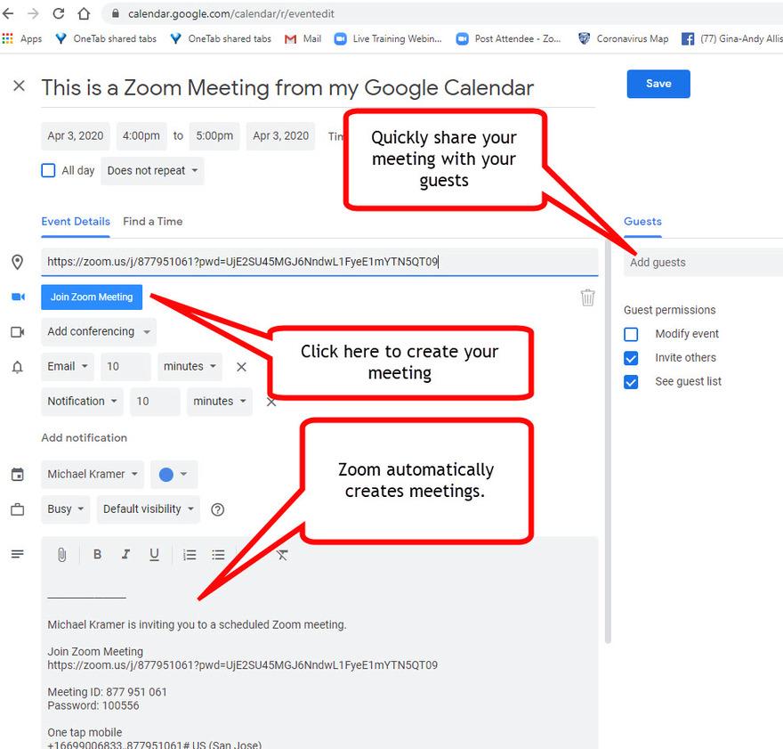 Create Zoom meetings withing Google and Outlook Calendars