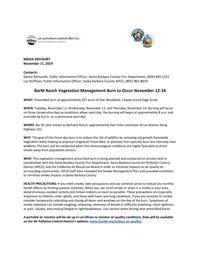 BarM Ranch Vegetation Management Burn to Occur November 12-14