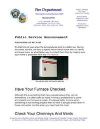 PSA Winter Fire Safety