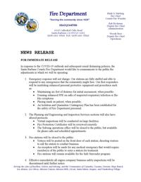 COVID19 Operations Update For Santa Barbara County Fire
