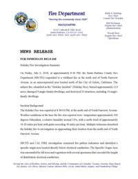 Holiday Fire Investigation Report News Release