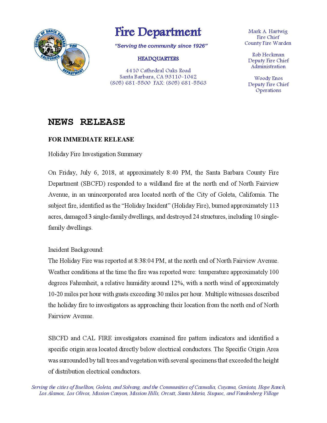 Holiday Fire Investigation Report News Release-pg1