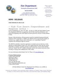 High Fire Season Preparedness and Response Levels