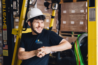 Cullen Works in the Warehouse at Pacific Resources International