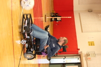Brian in his Strikeforce chair getting into position to serve the ball