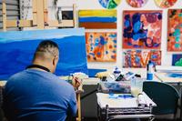 Juan Perez Painting at Santa Barbara Art Works
