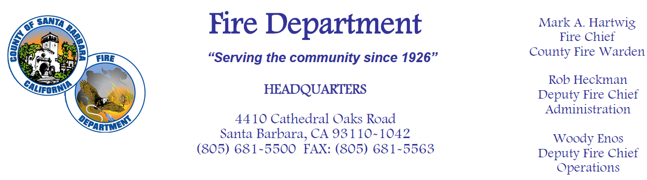 New Santa Barbara County Fire Department Website PSA