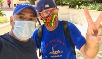 Lead Staff for UCP WORK, Inc's Supported Living Program Hugo Sosa with a man he supports wearing facemasks