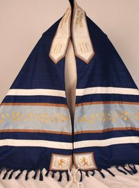 Blue Lion and Vine Tallit