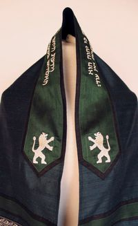 Teal, green and silver Lion of Judah tallit