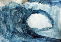 Watercolor painting of a wave by artist Nelson Riveria