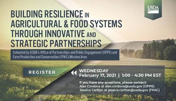 USDA's forum Building Resilience in Agricultural & Food Systems through Innovative and Strategic Partnerships
