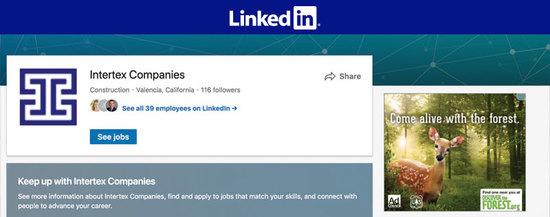 LinkedIn Social Media Profile Page
