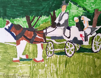 Drawing of a brown and white horse pulling a white buggy with a person with a white shirt and grey vest at the reigns, and a bride and groom sitting inside, there are green trees in the background