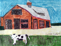 Drawing of a barn colored in shades of brown, red, and black, there is a white and black spotted cow standing on green grass in the foreground and a bright blue sky in the background