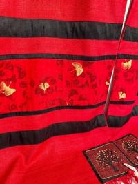 Red and Black Ginko Leaf Tallit