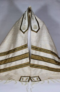 Irwin's traditional white and gold double-Sided tallit